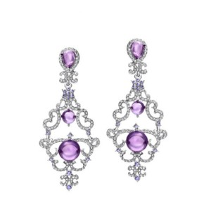 Other Gorgeous Handmade With Swarovski Crystals Purple Chandelier Earrings $99 DF101