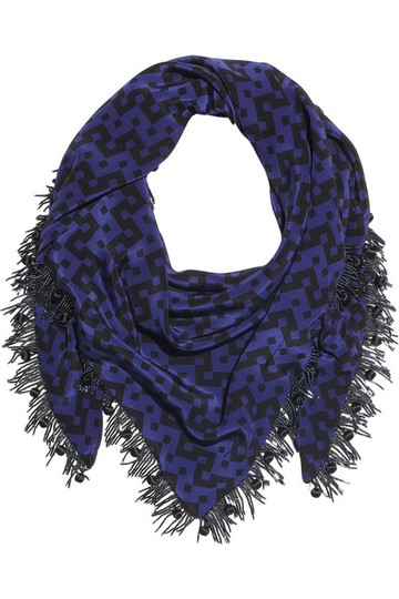 Prova zig-zag silk scarf with beaded fringe