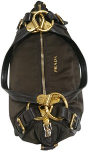 Prada Nylon Jacquard Logo Hobo Shoulder Bag