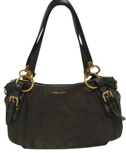 Prada Nylon Jacquard Logo Shoulder Bag
