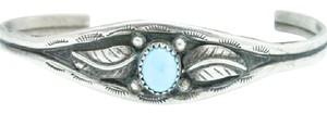 Other Sterling Silver and Synthetic Turquoise Cuff Bracelet