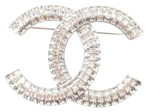 Chanel NEW Classic Lady Loop Crystal Brooch Pin In Silver