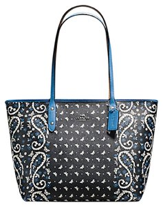 Coach 36875 Satchel 36876 Tote in SILVER/BLACK LAPIS