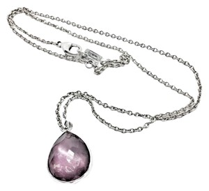 Ippolita small teardrop mother of pearl, wine quartz pendant necklace