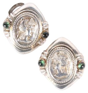 Other Gladiator Earrings with 14K Gold Bezels, Silver, & Green Tourmaline