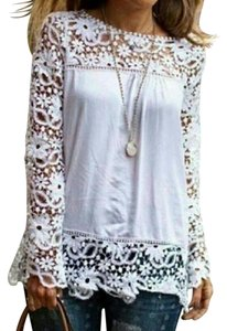 Evolution Clothing Co. Lace Chiffon Top White