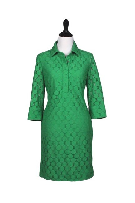 Item - Green Dot Lace Mid-length Work/Office Dress Size 12 (L)