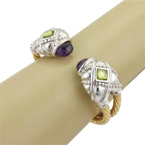 Other #18330 Amethyst & Peridot 14k Two Tone Gold Fancy Cuff Bangle
