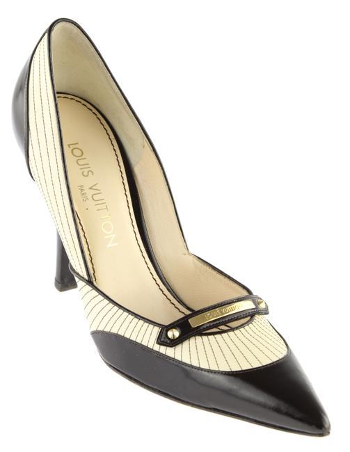 Item - Ivory and Black Leather Pumps Size EU 38.5 (Approx. US 8.5) Regular (M, B)