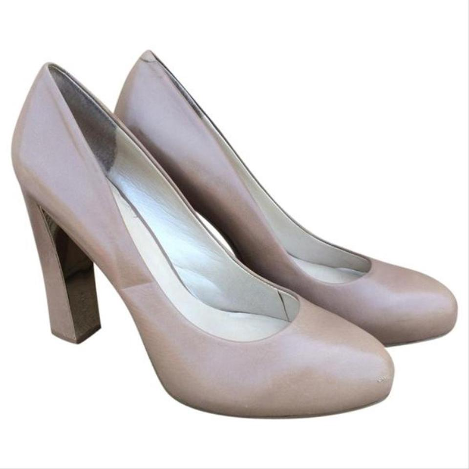 3c10d8aa438 Nine West Beige Leather Desired Chunky Pumps. Size  US 8.5 Regular (M ...