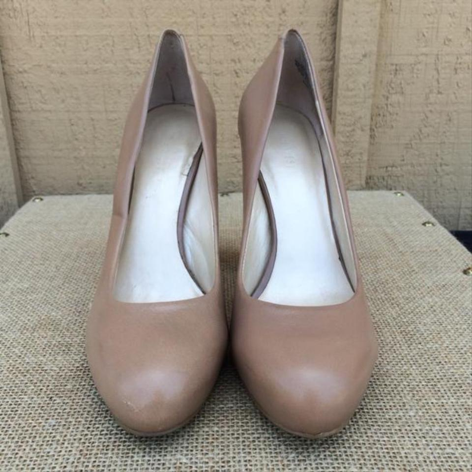 10e882d9a97 Nine West Beige Leather Desired Chunky Pumps Size US 8.5 Regular (M ...
