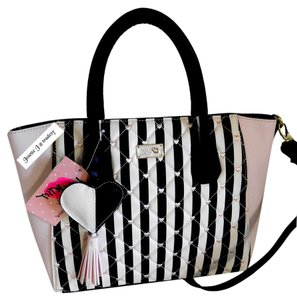 Betsey Johnson Quilted Diamonds Top Zip Closure Luv Betsey Multi Satchel in black/ bone /BLUSH