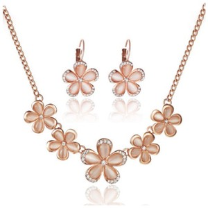 Other Handmade With Swarovski Crystal & Faux Opal Gold Flower Necklace Set $198 DF101