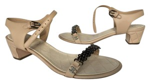 Chanel Chain Ankle Strap Quilted Beige Sandals