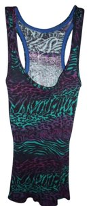 Rue 21 Tiger Leopard Racerback Ribbed Animal Print Top Multi-Colored