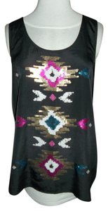 Rock & Republic Med Polyester Sequins Top black with glitter on front
