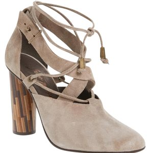 Free People Womens Woodgrain Heels Leather Vintage Silhouette Taupe Pumps