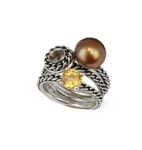 Honora Honora Skinny Jeans Chocolate Freshwater Cultured Pearl Stackable Ring