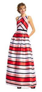 Adrianna Papell Striped Coral Ball Gown Mikado Evening Dress