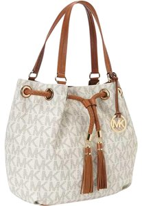 Michael Kors Jet Set Mk Monogram Mk Jet Set Gathered Mk Logo Tote in VANILLA MONOGRAM/Gold Tone Hardware