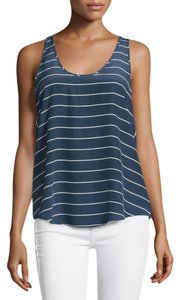 Joie Silk Stripe Tank Summer Top Navy blue with white