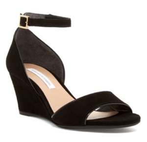 Diane von Furstenberg Dvf Suede Wedge Womens Black Sandals
