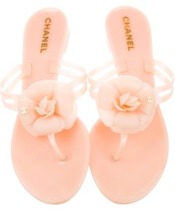 Chanel Interlocking Cc Camellia Gold Hardware Embellished Jelly Beige, Gold Sandals