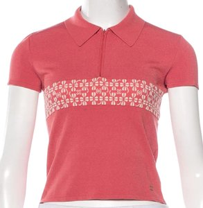 Chanel Knit Monogram Interlocking Cc Logo Print Top Pink, Beige
