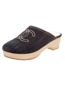 Chanel Interlocking Cc Embroidered Round Toe Denim Platform Blue, Beige Mules