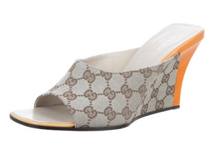 Gucci Peep Toe Monogram Gg Web Beige, Brown, Yellow Sandals