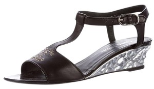 Chanel Ankle Strap Studded Interlocking Cc Silver Hardware Peep Toe Silver, Black Sandals