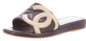 Chanel Ligne Cambon Quilted Interlocking Cc Logo Peep Toe Brown, Beige Sandals
