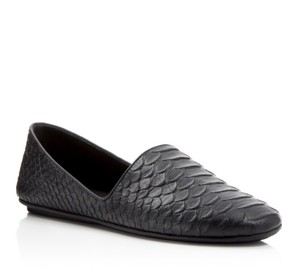 Vince Bogart Leather Python Embossed Womens Black Flats