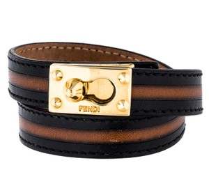 Fendi Gold-tone Fendi leather black brown wrap bracelet