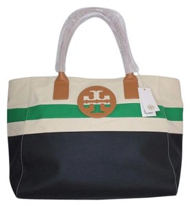 Tory Burch Beach Large Summer Logo Nautical Tote in Natural/navy/green
