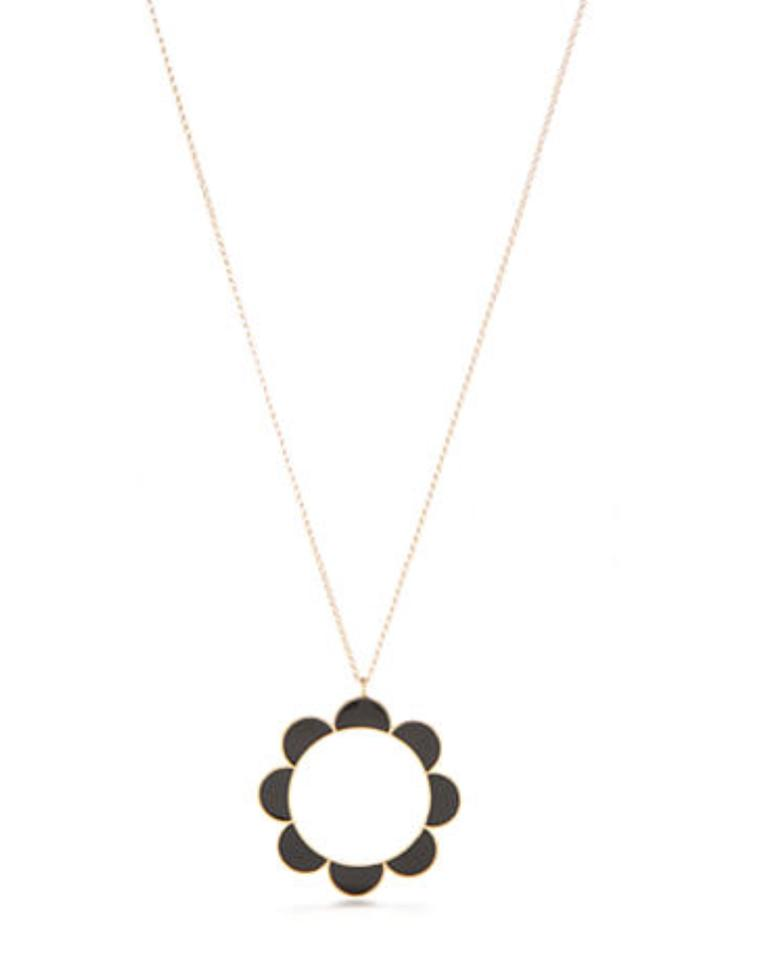 Kate spade gold black taking shapes scalloped pendant bag necklace kate spade nwt kate spade taking shapes scalloped pendant necklace black gold bag mozeypictures Image collections