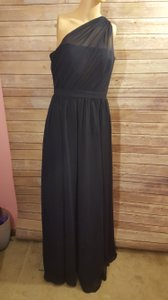 Alfred Angelo Navy Chiffon Modern Bridesmaid/Mob Dress Size 8 (M)