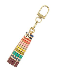 Tory Burch NEW!!! Tags Leather Multi Color Tassel Gold Logo Key Fob Chain