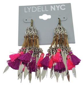 Lydell NYC Lydell NYC Hook Earrings Tassel Silver Plated & Gold Plated