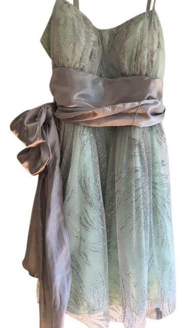 Item - Mint Green & Silver Over Fabric Sash Short Night Out Dress Size 12 (L)