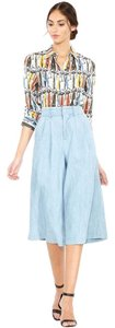 Alice + Olivia + Gaucho Chambray Culottes Skirt Capris Light Blue