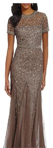 Adrianna Papell Cap Sleeve Fully Beaded Gown Dress