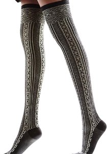 Free People FREE PEOPLE Black Ribbed Socks Thigh High Tall Stretchy Knee OS NEW
