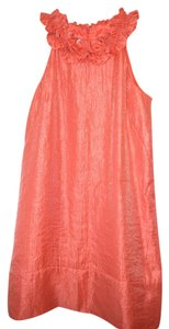 London Times Salmon Ruffle A-line Knee Length Dress