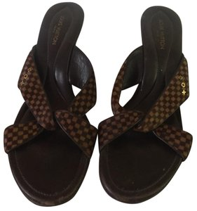 Louis Vuitton brown and black Mules