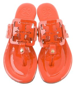 Tory Burch Perforated Logo Miller Gold Hardware Patent Leather Orange Sandals