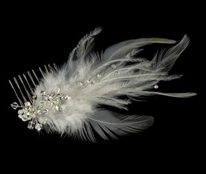 Elegance By Carbonneau Bridal Feather Fascinator Comb 1536 Ivory