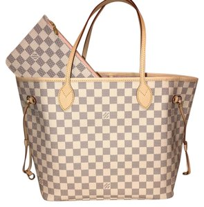 Louis Vuitton Neverfull Mm Damier Azur Neverfull Damier Azur Rose Tote in Rose Ballerine