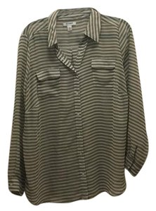 Old Navy Button Down Shirt transparent stripped olive and white