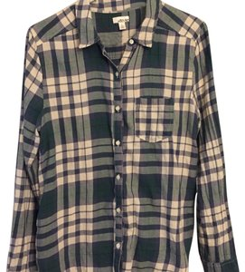 Other Button Down Shirt green and white
